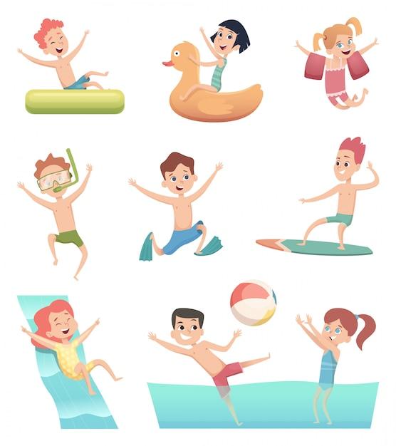 Giochi del parco acquatico. divertimento delle attività acquatiche dei bambini con i bambini della piscina di acqua su anelli di gomma o caratteri vettoriali materasso Vettore Premium