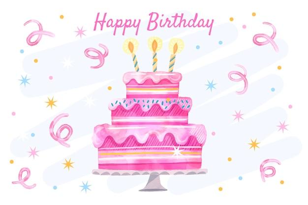 Sfondo di compleanno ad acquerello con torta Vettore Premium