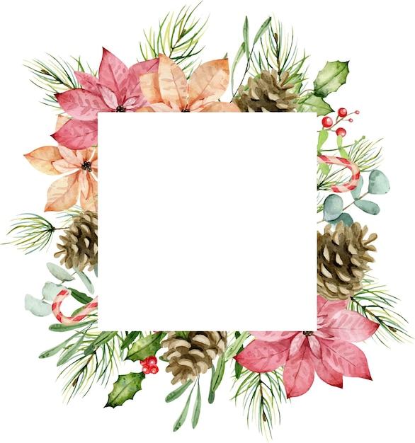 Bouquet di natale dell'acquerello Vettore Premium