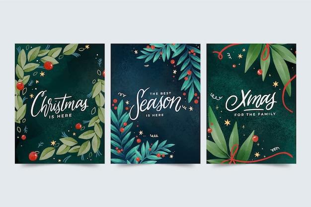 Collezione di cartoline di natale dell'acquerello Vettore Premium