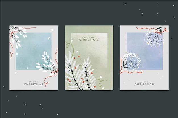 Set di cartoline di natale dell'acquerello Vettore Premium