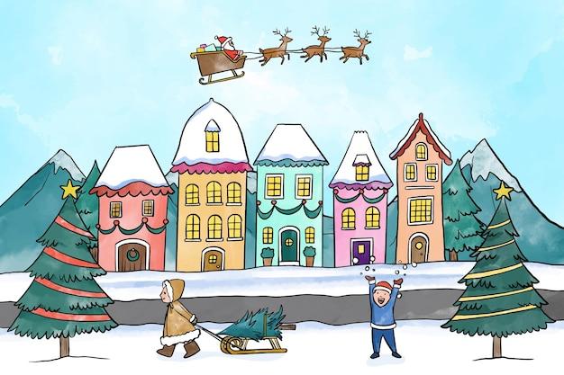 Città di natale dell'acquerello con bambini che giocano nella neve Vettore Premium
