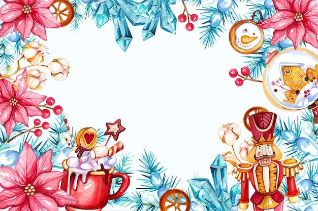 Cornice decorativa dell'albero di natale dell'acquerello con poinsettia e schiaccianoci Vettore Premium
