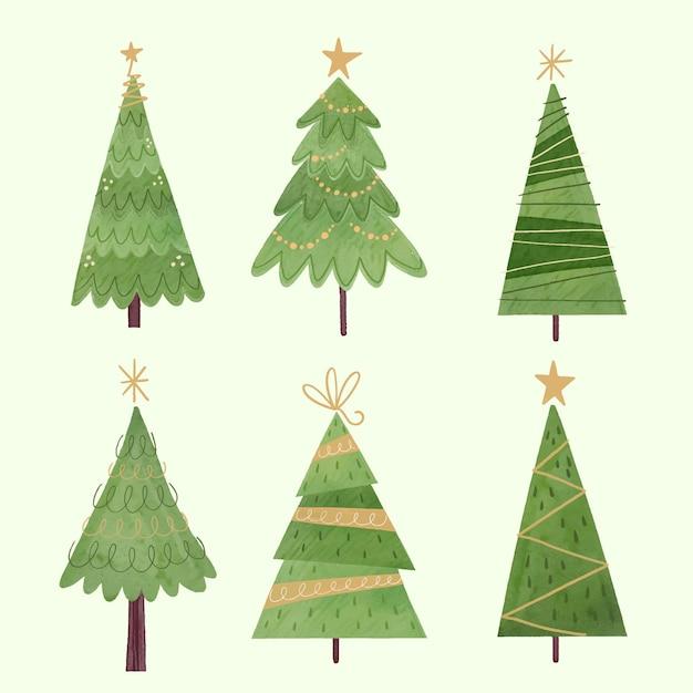 Collezione di alberi di natale dell'acquerello Vettore Premium