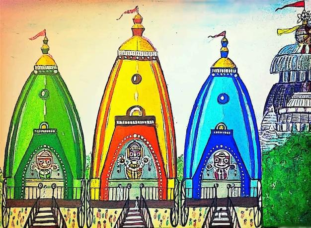 Illustrazione disegnata a mano di simbolo religioso della chiesa dell'acquerello Vettore Premium