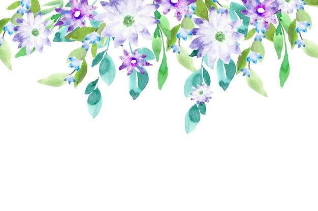 Concetto di sfondo floreale colorato ad acquerello Vettore Premium