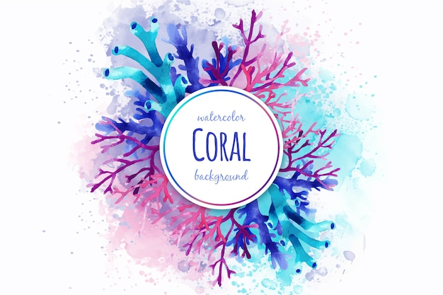Sfondo di corallo acquerello Vettore Premium