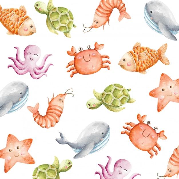 Reticolo senza giunte degli animali di mare carino dell'acquerello Vettore Premium