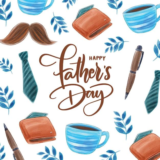 Festa del papà dell'acquerello Vettore Premium