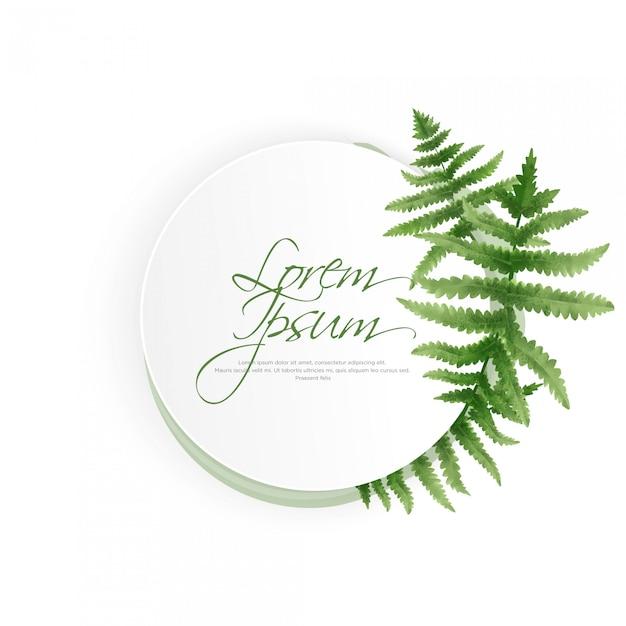 Cornice del cerchio di felce dell'acquerello Vettore Premium
