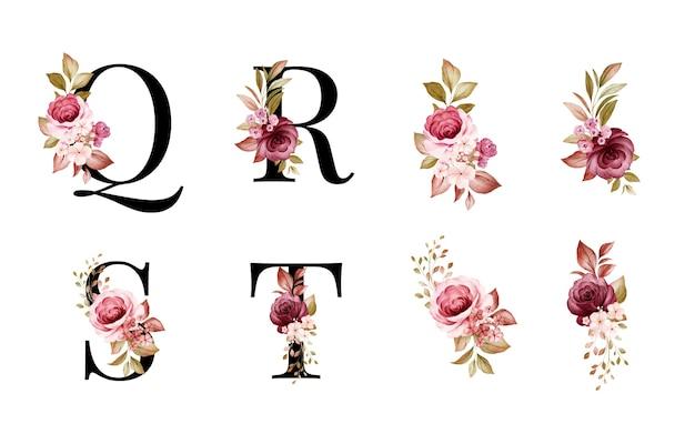 Insieme di alfabeto floreale dell'acquerello di q, r, s, t con foglie e fiori rossi e marroni. Vettore Premium