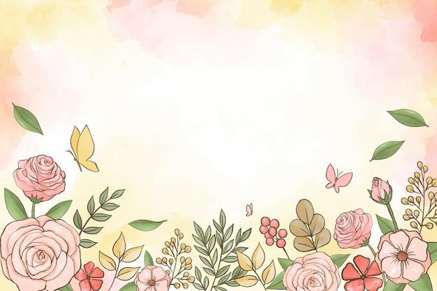 Sfondo floreale ad acquerello Vettore Premium