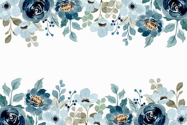 Cornice floreale dell'acquerello. morbido sfondo floreale blu Vettore Premium