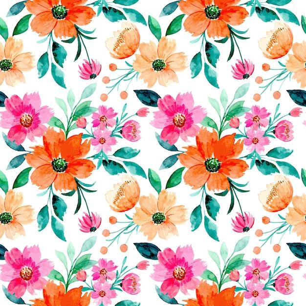 Modello senza cuciture floreale dell'acquerello Vettore Premium