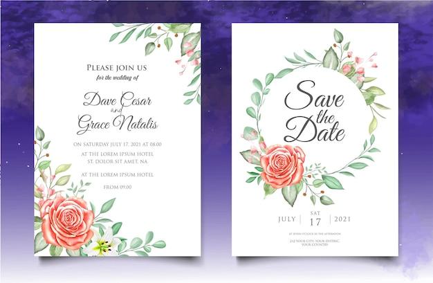 Modello di invito matrimonio floreale dell'acquerello Vettore Premium