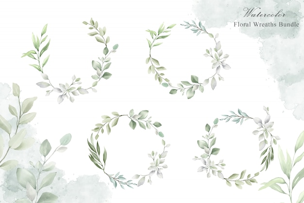 Corona floreale dell'acquerello per modello di carta di invito di nozze Vettore Premium