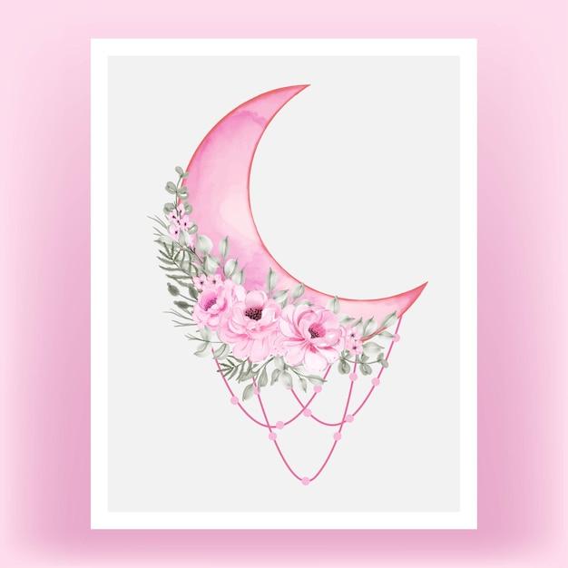 Tonalità di rosa mezza luna dell'acquerello con fiore rosa Vettore Premium