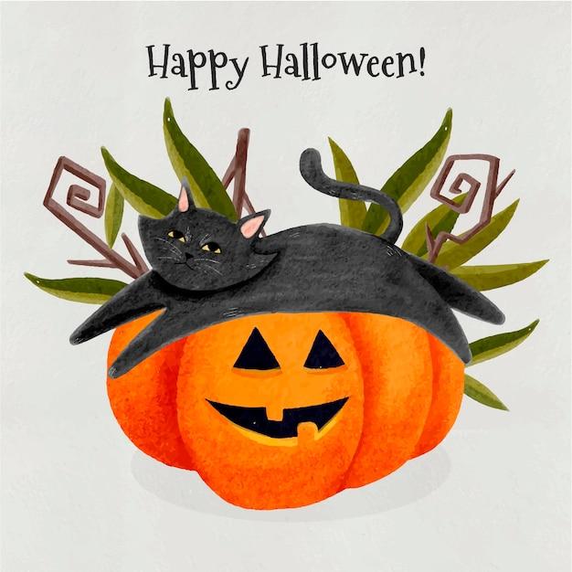 Gatto di halloween dell'acquerello Vettore Premium