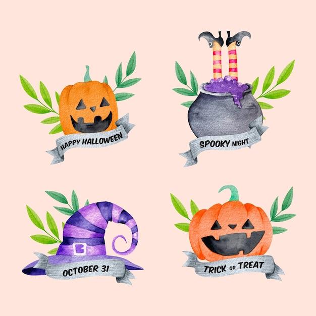 Collezione di etichette di halloween dell'acquerello Vettore Premium