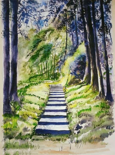 Natura disegnata a mano dell'acquerello e bella illustrazione dell'albero Vettore Premium