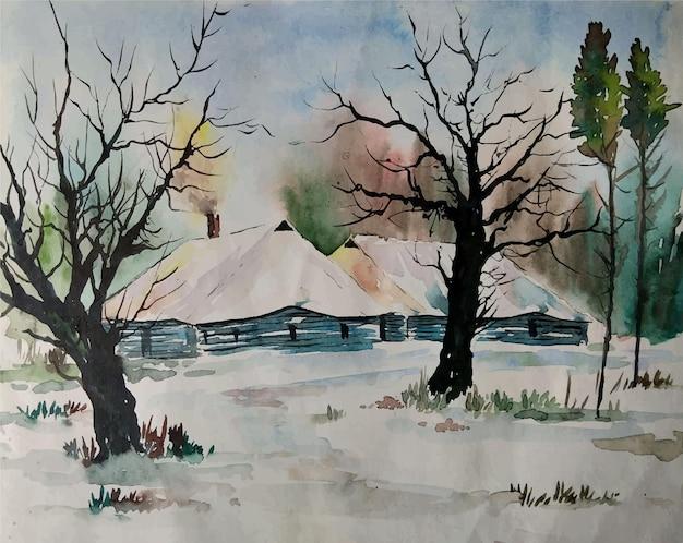Paesaggio della natura disegnato a mano dell'acquerello con illustrazione dell'albero bealutiful Vettore Premium