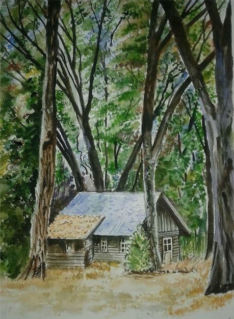 Albero disegnato a mano dell'acquerello, illustrazione del paesaggio della natura Vettore Premium