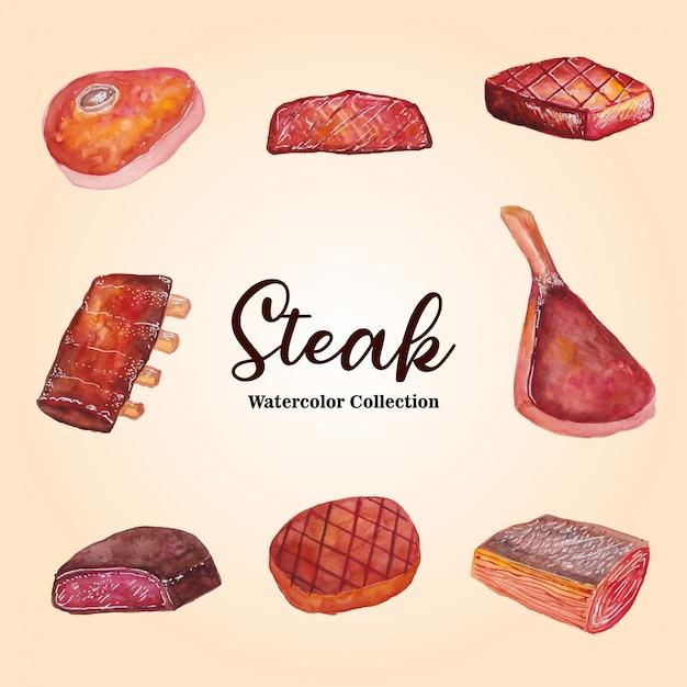 Illustrazione ad acquerello della collezione steak Vettore Premium