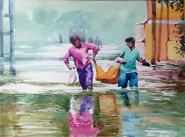 Illustrazione dell'acquerello di due persone che camminano attraverso la strada allagata Vettore Premium
