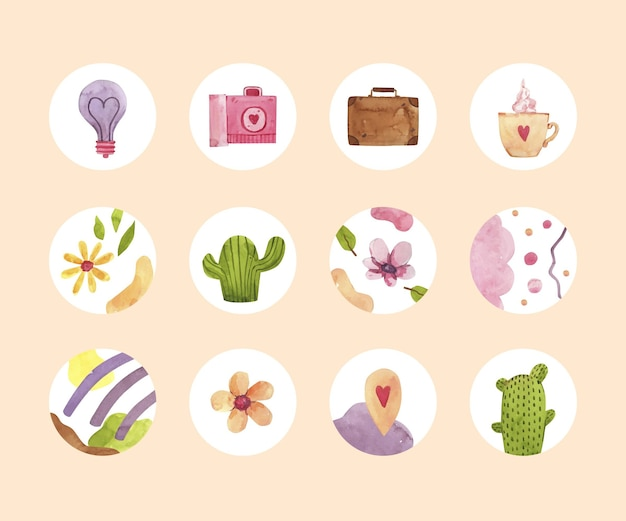 Collezione di highlight di instagram dell'acquerello Vettore Premium
