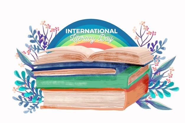 Giornata internazionale dell'alfabetizzazione dell'acquerello con libri Vettore Premium