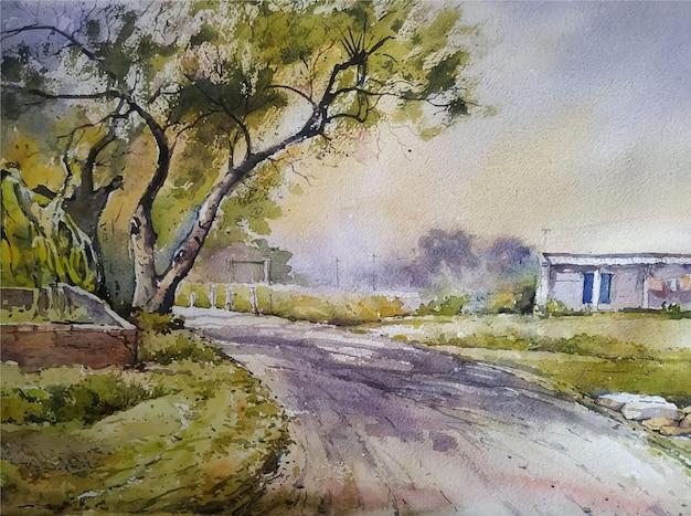 Illustrazione dell'albero disegnato a mano della pittura di paesaggio dell'acquerello Vettore Premium