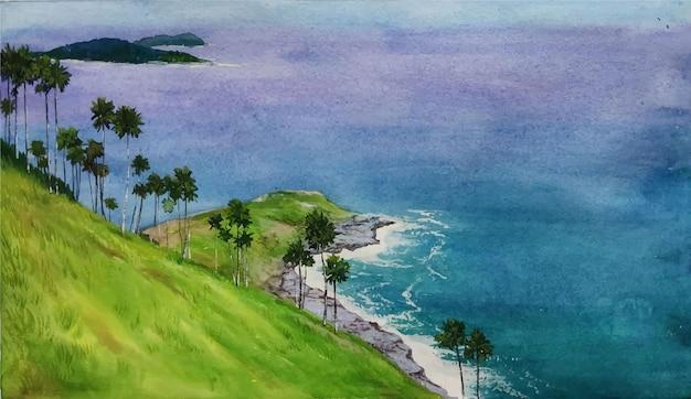 Natura dell'acquerello e bella illustrazione disegnata a mano di landscpae Vettore Premium