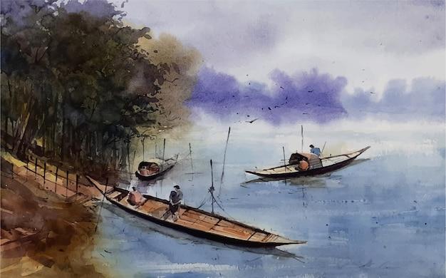 Schizzo del paesaggio della natura dell'acquerello sull'illustrazione disegnata a mano Vettore Premium