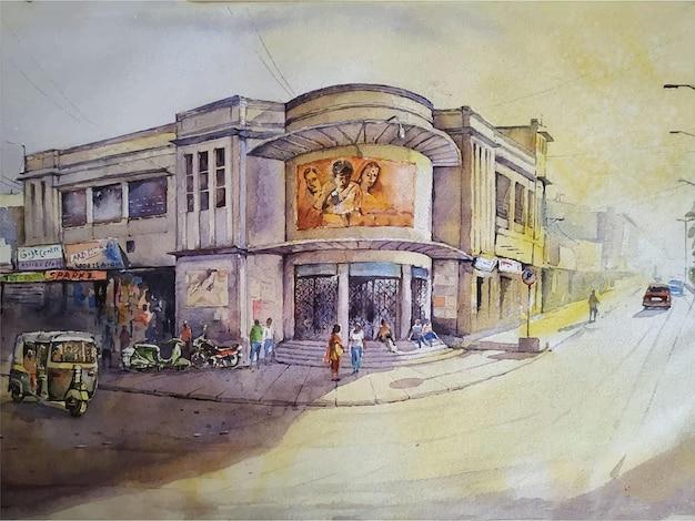 Illustrazione disegnata a mano di pittura ad acquerello Vettore Premium