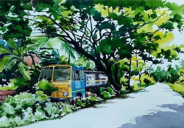 Camion di pittura ad acquerello a lato della strada Vettore Premium
