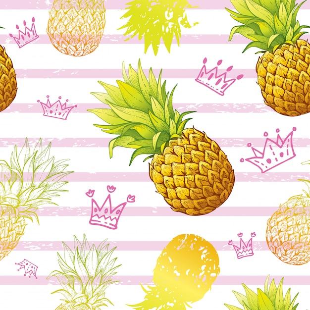 Reticolo senza giunte dell'acquerello ananas Vettore Premium