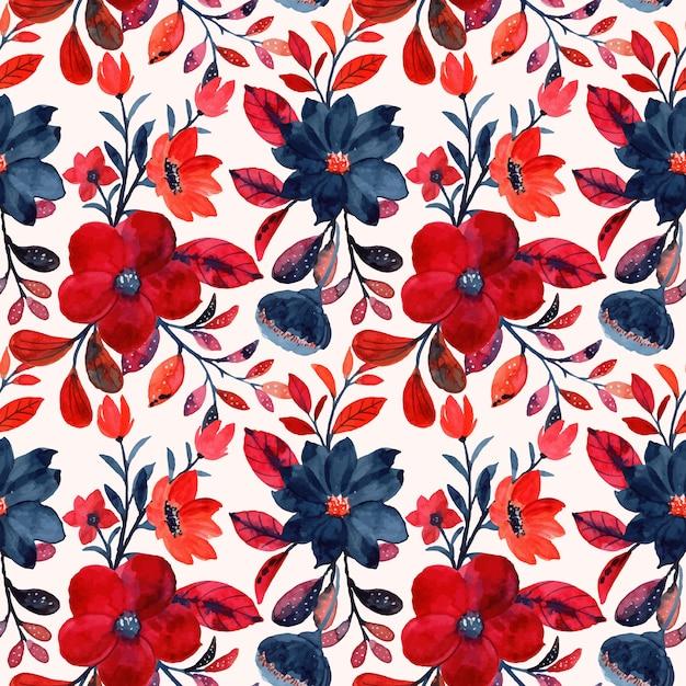 Modello senza cuciture floreale rosso dell'acquerello Vettore Premium