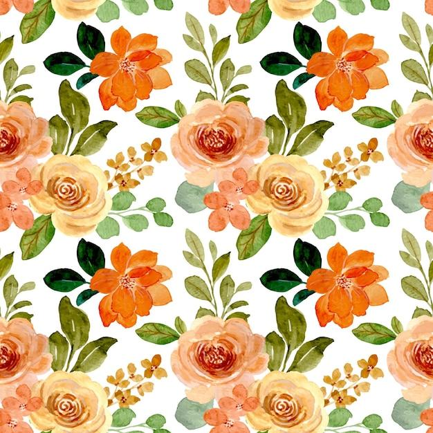 Reticolo senza giunte del fiore di rosa dell'acquerello Vettore Premium
