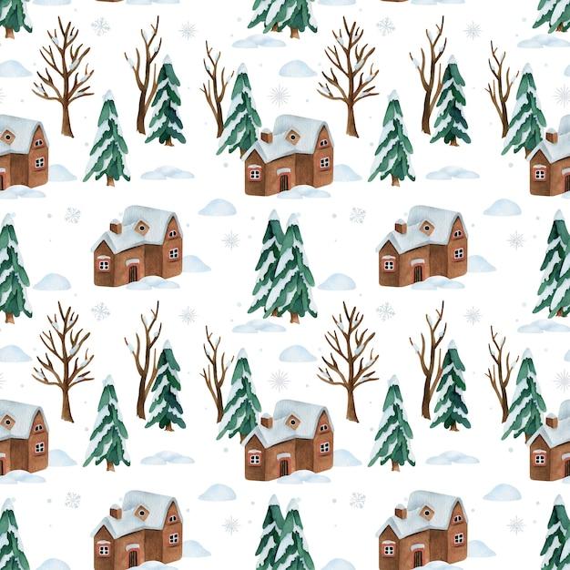 Acquerello seamless con neve inverno foresta e casa Vettore Premium