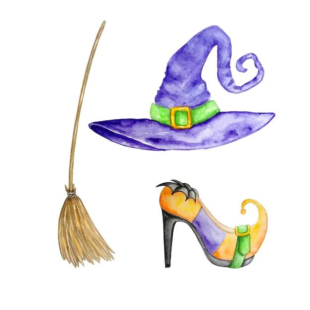 Set di acquerelli di accessori per streghe scarpe cappello viola e scopa Vettore Premium