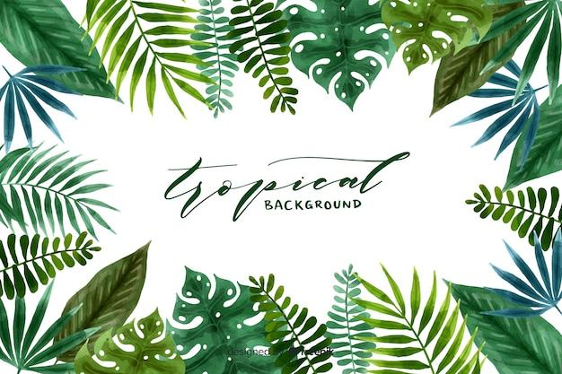 Acquerello sfondo tropicale Vettore Premium