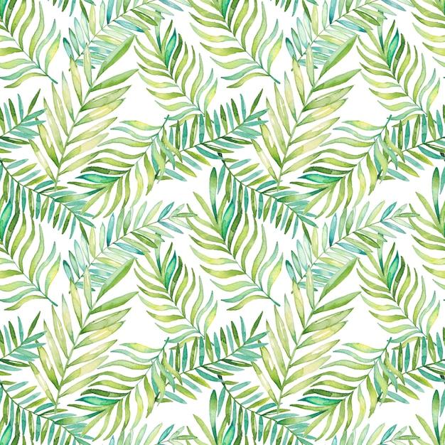Modello di foglie tropicali dell'acquerello Vettore Premium