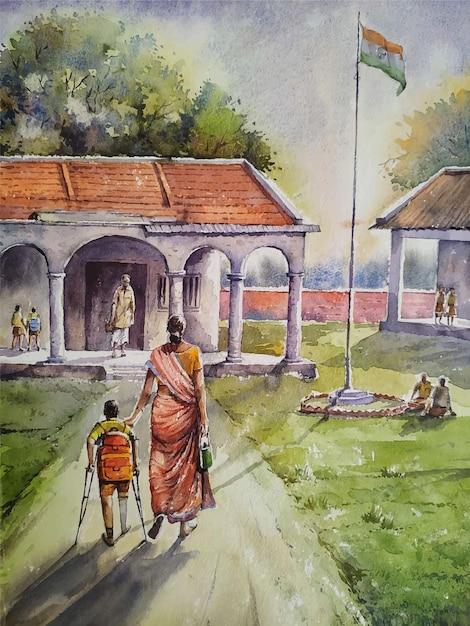 Illustrazione disegnata a mano della pittura di paesaggio di scena del villaggio dell'acquerello Vettore Premium