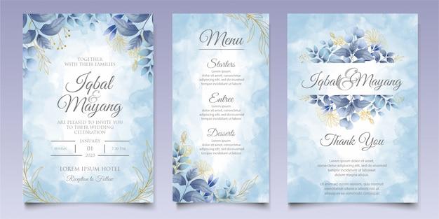 Modello della carta dell'invito di nozze dell'acquerello floreale e delle foglie Vettore Premium