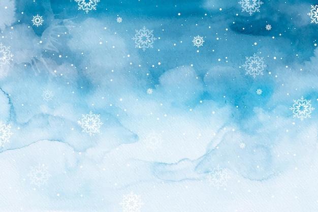 Priorità bassa di inverno dell'acquerello Vettore Premium