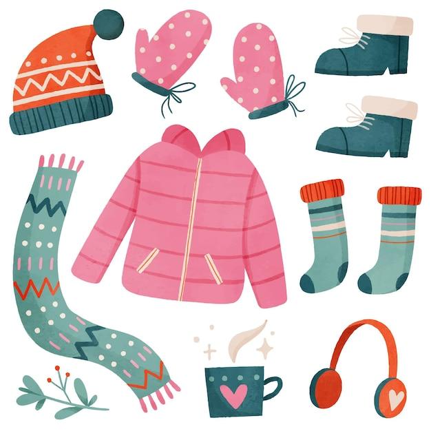 Vestiti invernali ed elementi essenziali dell'acquerello Vettore Premium