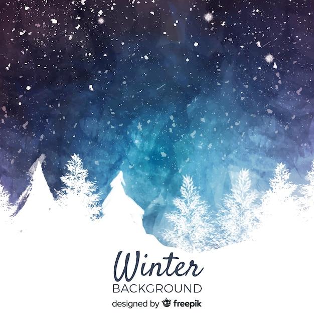 Acquerello inverno paesaggio sullo sfondo Vettore Premium