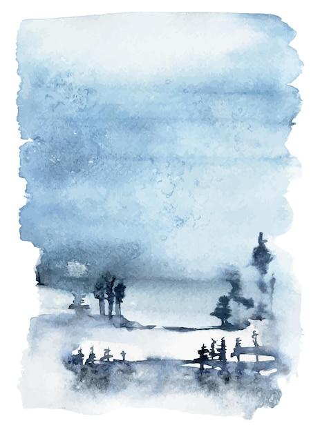 Paesaggio invernale dell'acquerello Vettore Premium