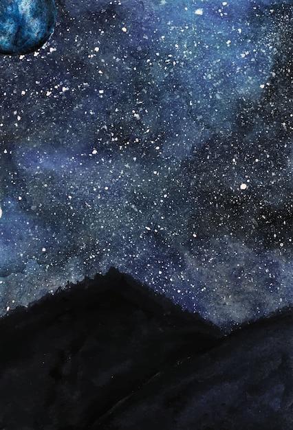 Illustrazione del cielo notturno di inverno dell'acquerello Vettore Premium