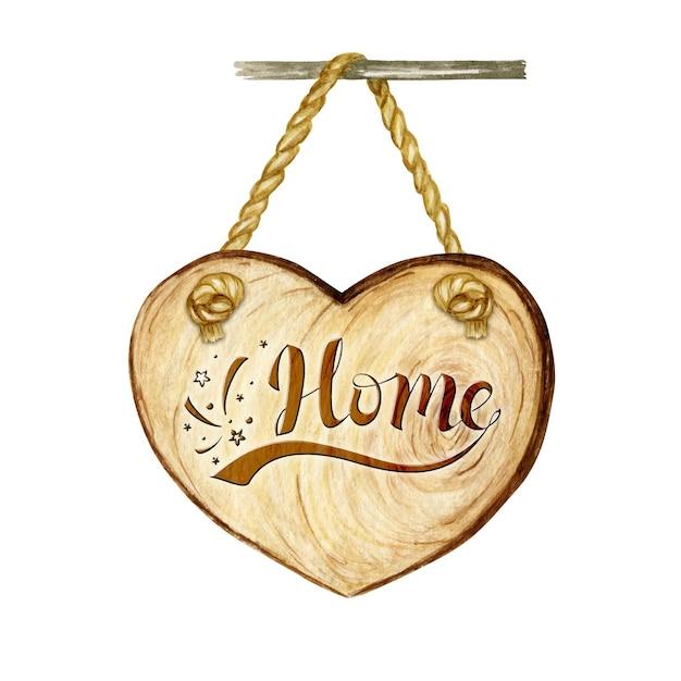 Insegna del cuore di legno dell'acquerello con scritta parola casa, vuoto vuoto isolato. Vettore Premium